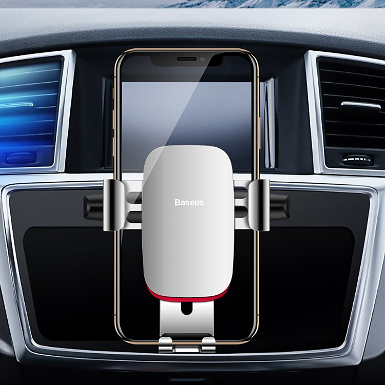 Baseus Metal Age Gravity CD Slot Car Mount Phone Holder (Silver)